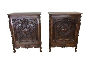Matching Pair Antique French Renaissance Cabinets Narrow Oak 19th Century