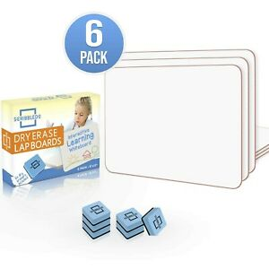 6 Pack Dry Erase Lap Board 9 x12 Interactive Learning Whiteboard Education