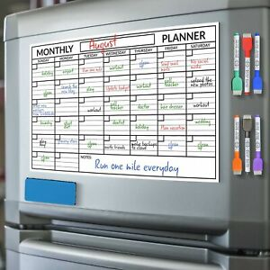 Scribbledo Magnetic Dry Erase Monthly Calendar Planner White Board Sheet For