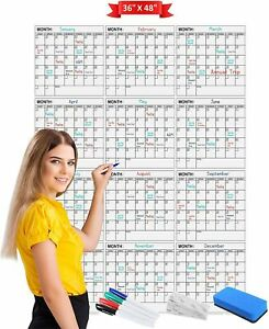 Jumbo Dry Erase Yearly Calendar 36 X 48 12 Month Reusable Wall Planner Incl
