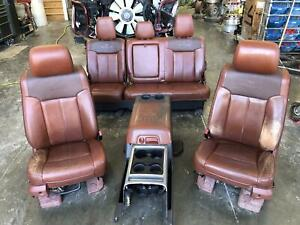 11 16 Ford F250 King Ranch Brown Leather Front Rear Seats W Console Superduty