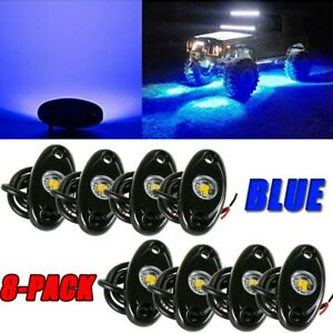 8pcs Underglow Blue Led Rock Lights Neon 8xpods Led Light Off Road Ute Atv Boat