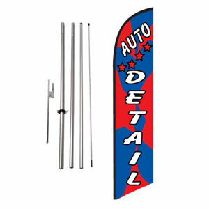 Auto Detail Car Wash Feather Banner Swooper Flag Sign With Flag Pole Kit And