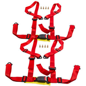 Pair Universal 4 Point Buckle Racing Seat Belt Safety Harness W Buckle Red