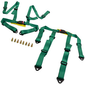 Pair Universal 4 Point Buckle Racing Seat Belt Safety Harness W Buckle Green