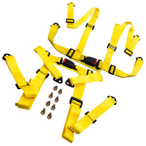 Pair Universal 4 Point Buckle Racing Seat Belt Safety Harness W Buckle Yellow