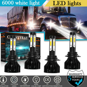 4 sides 9005 9006 Led Bulbs Headlights Kit For Freightliner Columbia 1996 2015