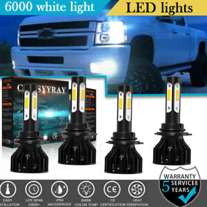 9005 9006 Led Headlight Hi lo Beam Bulbs For Chevrolet K1500 Silverado 1994 99