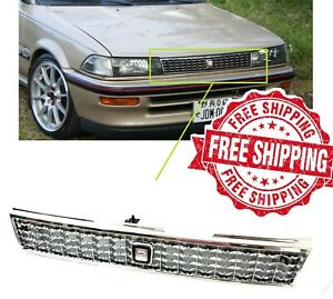 For 88 92 Toyota Corolla Grille Ae90 Crown Style Chrome Front Grill With Emblem
