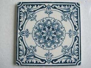 Antique Victorian 6 Square Transfer Print Aesthetic Blue On White Wall Tile