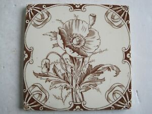 Antique Victorian 6 Square Transfer Print Wall Tile Poppy Brook Tile Co