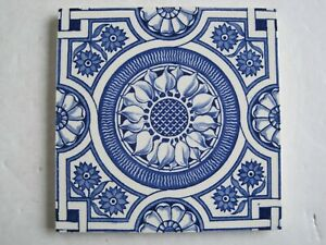 Antique Victorian Blue On White Wall Tile C1870 90 Wedgwood Sunflower
