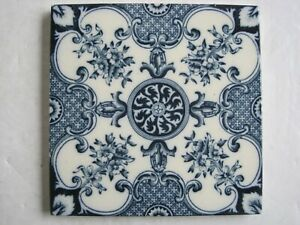 Antique Victorian H A Ollivant Blue Aesthetic Print Wall Tile C1890 1900 No 406