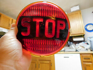 Nos Vintage Bus Truck Yankee Brand 31239 Red Glass stop Light Lens 50s 7