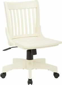 Nice Solid Wood Office Desk Chair Antique White Finish Rolling Chair W Casters