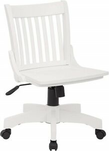 Nice Solid Wood Office Desk Chair White Finish Rolling Chair With Casters