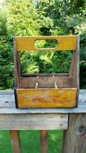 Vtg Yellow Coca Cola 6 Pack Wood Carrier Caddy Crate War Wings 1940s NICE