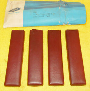 1966 1967 Lincoln Continental Sedan Convertible Nos Red Lh Rh Door Arm Rest Pads