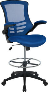 Mid back Blue Mesh Ergonomic Drafting Chair With Adjustable Foot Ring