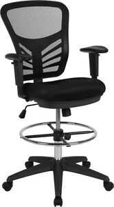 Mid back Black Mesh Ergonomic Drafting Chair With Adjustable Chrome Foot Ring