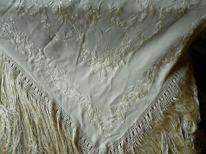 Antique Vintage Silk Embroidered Piano Shawl Floral Creamy White Knotted Fringe