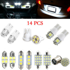 14pcs Led Lights Interior Package Map Dome License Plate Lamps Bulb Accessories