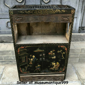 31 6 Chinese Lacquerware Dynasty Tongzi Kids Pattern Abacus Cupboard Cabinet