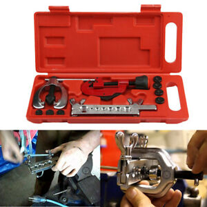Double Flaring Tool Kit For 3 16 5 8 7 Dies Automotive Brake Line Tube Cutter