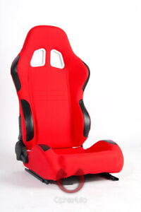 Cipher Auto Red Fabric W Leatherette Accents Universal Racing Seats Pair New
