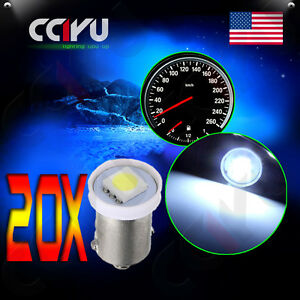 20x White Ba9s 5050 Smd Led 1895 Dashboard Panel Indicator Light Bulbs For Ford