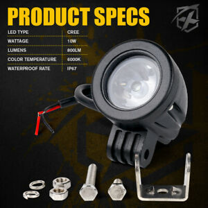 2 Inch 10w Led Round Light Spot Beam Work Lamp Offroad Driving Fog Light Pods