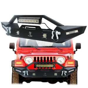 Vijay Texture Black Front Bumper With Led Light For 1987 2006 Jeep Wranglertj yj