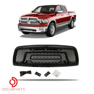 Fits Dodge Ram 1500 2009 2012 With Lights letters Grille Rebel Style Gloss Black