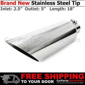 Stainless Steel Angled Polished 18in Bolt on Exhaust Tip 2 5 In 5 Out 233505