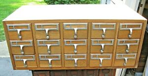 Vintage Oak 15 Drawer Card File Apothecary Parts Storage Cabinet Chest