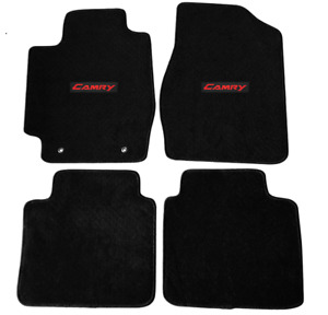 For 02 06 Toyota Camry Floor Mats Carpets Front Rear Nylon Black W Red Camry