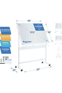 Portable Wheels Mobile Dry Erase Whiteboard 360 Double Sided Adjustable Height