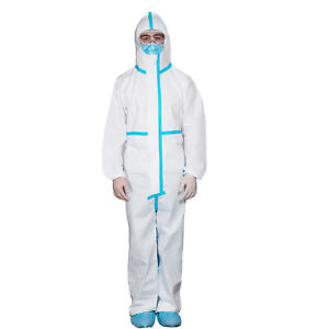 Disposable Medical Protective Coverall Suit Isolation Gowns Hood Fluid Resistant