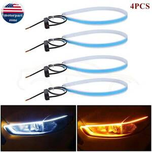 4 X Led Drl Light Amber Sequential Flexible Turn Signal Strip Headlight White Us