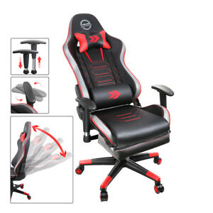 Nrg Innovations Height Reclinable Adjustable Office Gaming Chair Red Rsc g100rd