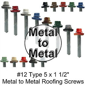 12 X 1 1 2 Metal To Metal 5 Roofing Screws With Drill Point Tip Hex Head