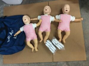 3x Laerdal Baby Anne Infant Cpr Ems Emt Nursing Training Manikins Bag Case