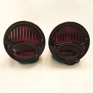 6 Volt 1928 31 Ford Model A Tail Lights With Red Ribbed Lens All Black 1 Pair