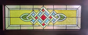Vintage Stained Beveled Glass Celtic Knot Transom Window