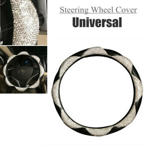 38 5cm Diamond Leather Steering Wheel Cover With Bling Bling Crystal Rhinestones