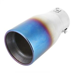 Universal Stainless Steel Semi Blue Straight Outlet Car Tail Exhaust Pipe Modifi