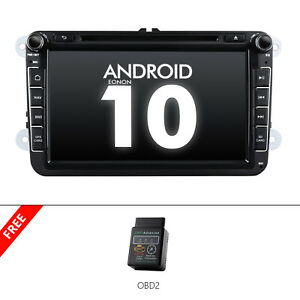 Obd2 Head Unit Android 10 8 Car Stereo Gps Nav Cd Dvd Player For Vw Skoda Seat