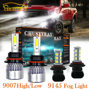 For 2003 05 Dodge Ram 1500 2500 3500 4x 6000k Led Headlight Fog Combo Pack