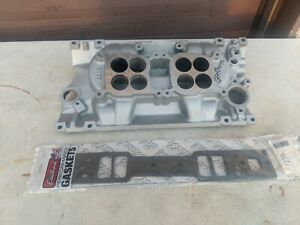 Edelbrock 5426 Dual Quad Chevy Small Block Intake For Vortec Heads Nice Shape