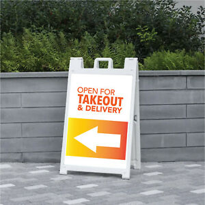 2 Takeout Delivery 24x36 Sandwich Board Inserts Free Shipping Made In Usa